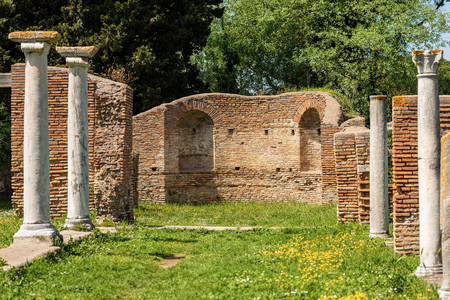 Old ruins of a Christian basilica in Ostia Antica, ancient Roman colony founded in the 7th century BC.