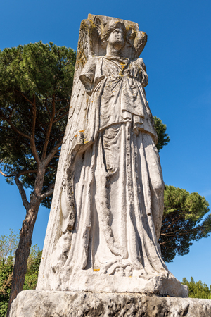 Ancient roman statue of winged Minerva Victory in Ostia Antica, Roman colony founded in the 7th century BC. Reklamní fotografie