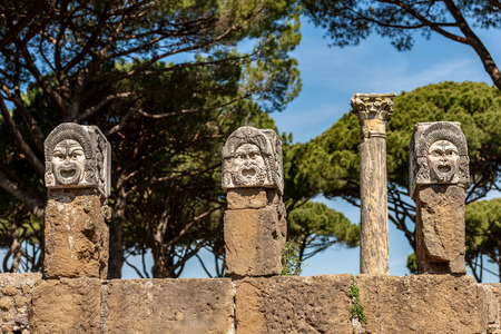 Theater masks from the decoration of the amphitheater in Ostia Antica, Roman