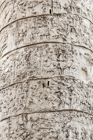 Extreme close-up of the Trajan's Column, Roman triumphal monument built by Emperor Trajan to celebrate the victory in Dacia Wars.