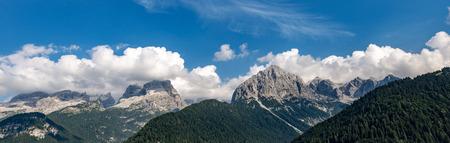 Brenta Dolomites, west side, seen from Rendena Valley. Stockfoto