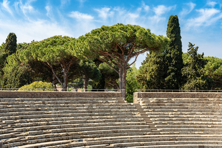 Ostia Antica - Close-up of the Roman Theatre. Roman colony founded in the 7th century B.C.
