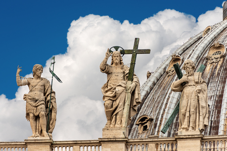 Detail of the Basilica of Saint Peter with the marble statues of Jesus Christ