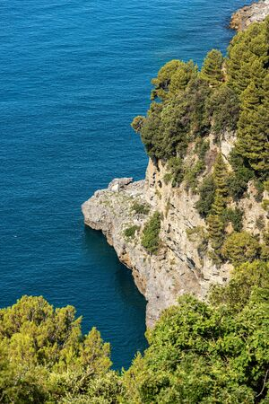 Aerial view of a cliff with the Mediterranean Sea, Gulf of La Spezia, Liguria, Italy, Europe