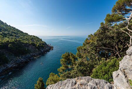 Aerial view of a small bay with the Mediterranean Sea, Gulf of La Spezia, Liguria, Italy, South Europe Фото со стока