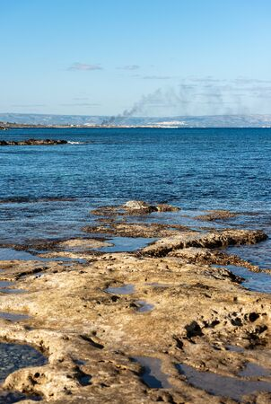 The Sicily island with coast and Mediterranean sea, Portopalo di Capo Passero, Syracuse province, Italy, South Europe