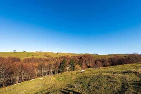 Lessinia Plateau in autumn and Alps (Carega Mountain called small Dolomites). Regional Natural Park in Veneto, Verona, Italy, Europe