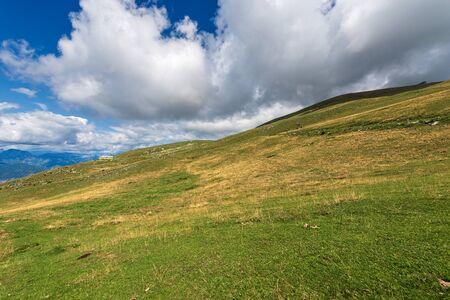 Green pastures on the Italian Alps in summer, Monte Baldo near the Lake Garda, Verona province, Veneto, Italy, south Europe