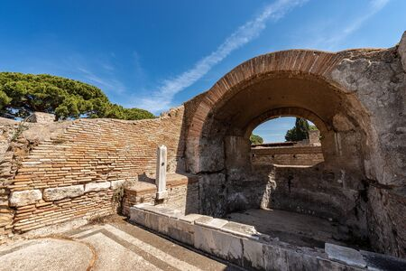 Ancient Roman thermal baths in Ostia Antica, Roman colony founded in the seventh century BC. Rome, UNESCO world heritage site. Latium, Italy, Europe