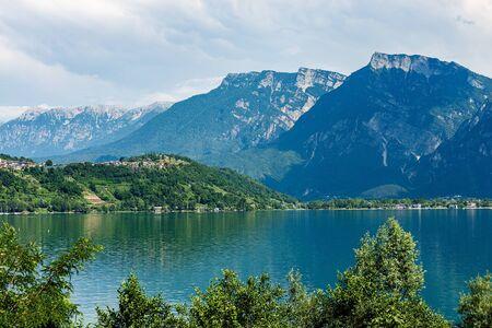 Lake Caldonazzo and Italian Alps with the small village of Tenna, Valsugana valley, Trento province, Trentino-Alto Adige, Italy, Europe