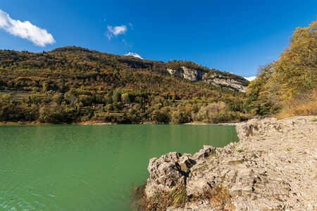 Lago di Tenno, small and beautiful lake in Italian alps, Trento province, Trentino-Alto Adige, Italy, Europe