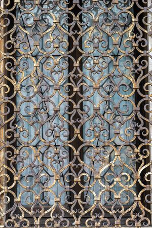 Venice, detail of an ancient window with grating in wrought iron, UNESCO world heritage site, Veneto, Italy, Europe