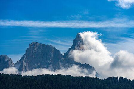 Peaks of the Dolomites in the Italian Alps called Pale di San Martino and Cimon della Pala (3186 m), UNESCO world heritage site in Trentino Alto Adige, Italy, Europe Stock Photo