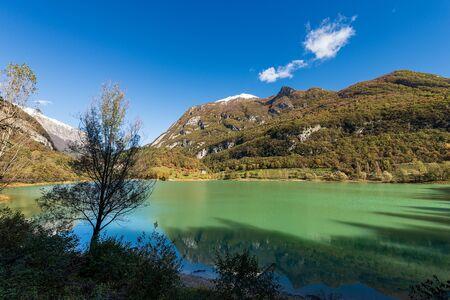 Lago di Tenno, small and beautiful lake in Italian alps (Monte Misone), Trento province, Trentino-Alto Adige, Italy, Europe Stock Photo