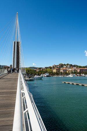 Modern cable-stayed and bascule bridge of Thaon di Revel and cityscape of La Spezia, Mediterranean sea, Liguria, Italy, Europe
