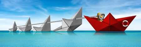 Rescue and Leadership concept, a red paper boat of the coast guard rescues four white boats that are sinking in a turquoise sea with blue sky and clouds