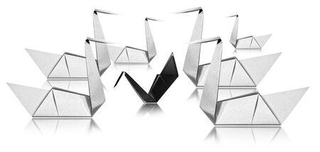 Pesten concept, zes Witboek zwanen geconfronteerd met een zwarte zwaan, Origami geïsoleerd op een witte achtergrond