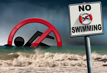 No swimming. Danger sign and disobedient swimmer, at the beach with a rough sea with rainy sky on background, 3D illustration and photography