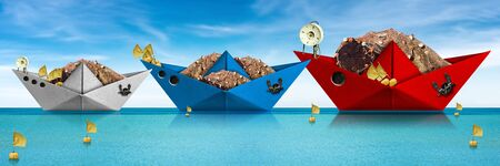 Three paper fishing boats with fishing nets, buoys with flags, winch and anchor in the turquoise sea. Fishing industry concept Stockfoto