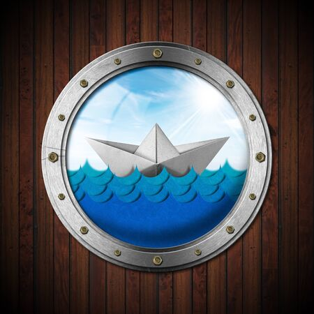 White paper boat in the blue waves of the sea with blue sky, clouds and sun rays seen through the porthole of a ship. 3d illustration and photography Reklamní fotografie