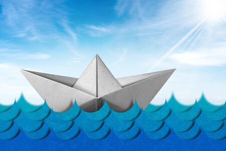 White paper boat in the blue waves of the sea with blue sky, clouds and sun rays, 3d illustration and photography