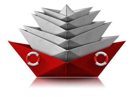 Rotes Papierrettungsboot mit Ringboje rettet viele weiße Schiffe beschädigt, isoliert auf weißem Hintergrund mit Reflexionen, Fotografie Standard-Bild