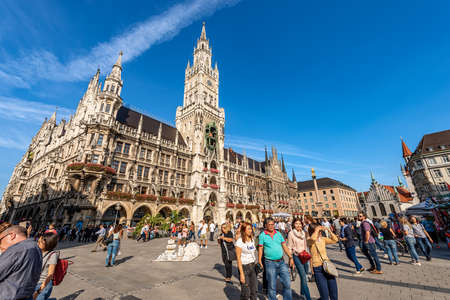 MUNICH, GERMANY - SEP 6, 2018: Neue Rathaus, new town hall, XIX century in neo-Gothic style in Marienplatz, the main square of Munich. Bavaria, Germany, Europe Editorial