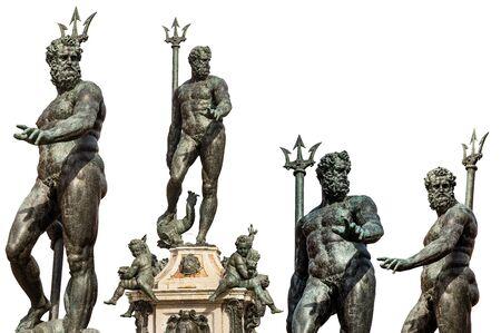 Collection of the bronze statue of Neptune isolated in white background (1566), Roman God, fountain in Piazza del Nettuno, Bologna, Emilia-Romagna, Italy, Europe. Artist Giambologna (1529-1608)