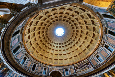 Pantheon Rome, interior detail of the marble dome. Ancient Roman temple dedicated to all the gods of the past, today a Christian basilica. UNESCO world heritage site. Latium, Italy, Europe Editorial