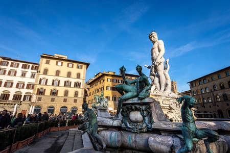 Fountain of Neptune also called Biancone (Bartolomeo Ammannati 1560-1565) in Piazza della Signoria the main square of Florence, UNESCO world heritage site.