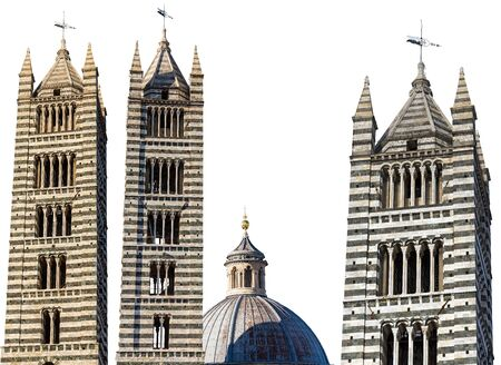 Bell tower and dome of the Siena Cathedral isolated on white background (Duomo di Siena, Santa Maria Assunta,1220-1370). Tuscany, Italy, Europe