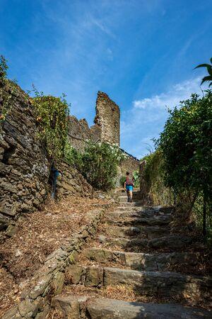 Via dell'Amore (the way of love), the famous hiking trail that runs through the Cinque Terre, Riomaggiore, Manarola, Corniglia, Vernazza and Monterosso al Mare. Liguria, Italy, Europe