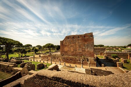 Capitolium temple in Ostia Antica Archeological Site, dedicated to Jupiter, Juno and Minerva, Colony founded in the 7th century BC. near Rome