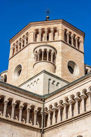 Closeup of the San Vigilio Cathedral (Duomo di Trento, 1212-1321) in Romanesque and Gothic style, Trento downtown, Trentino-Alto Adige, Italy, Europe