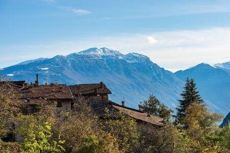 Monte Baldo with snow in winter, Italian Alps near Riva del Garda, photographed from the medieval village of Canale di Tenno or Villa Canale, Trento province, Trentino-Alto Adige, Italy, Europe