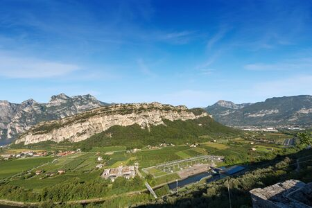 Aerial view of the Sarca Valley (Valle del Sarca) with the river and the Garda Lake near Torbole, Trentino Alto Adige, Italy, Europe