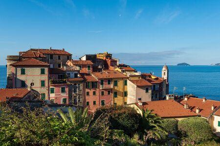 The ancient and small village of Tellaro and Mediterranean sea, Lerici municipality, Gulf of La Spezia, Liguria, Italy, Europe