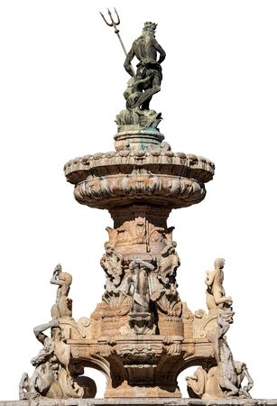 Fountain of Neptune isolated on white Background. Piazza del Duomo (Cathedral square) in Trento downtown. Trentino-Alto Adige, Italy, Europe