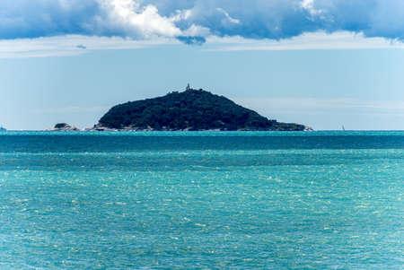 Tino and Tinetto Island in the Gulf of La Spezia near Porto Venere or Portovenere, Mediterranean sea. Liguria, Italy, Europe
