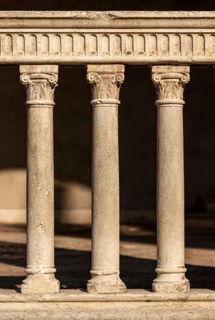 Close-up of an ancient marble balustrade in Verona downtown (Piazza dei Signori) Archivio Fotografico