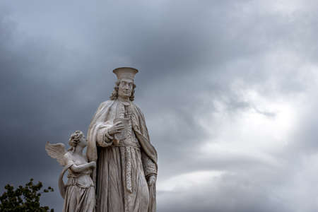 Marble statue of Antonio Diedo, Italian architect (1772-1847), Prato della Valle, famous town square in Padua downtown, Veneto, Italy, Europe.
