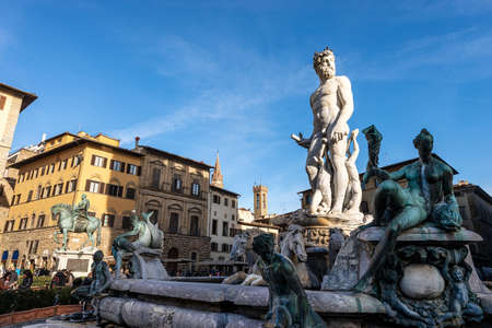 Florence, Neptune Fountain (Roman deity), by Bartolomeo Ammannati 1560-1565, Piazza della Signoria, Florence, UNESCO world heritage site,Tuscany, Italy, Europe.