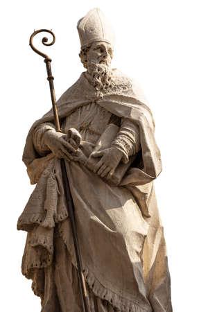 Statue of San Zeno, Bishop and Patron of the Verona city isolated on white. Church of San Zeno in Oratorio (VII-VIII century). Sculptor Francesco Zoppi (1733-1799). Veneto, Italy, Europe.