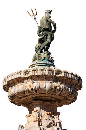 Trento. Fountain of Neptune isolated on white background, Cathedral square (Piazza del Duomo) with the bronze statue of the Roman God with the trident. Trentino-Alto Adige, Italy, Europe