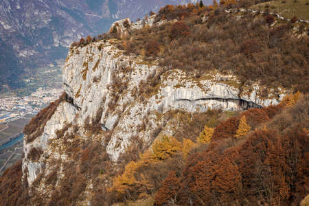 Rock faces smoothed by the glacier in very ancient times, Adige Valley, Veneto and Trentino-Alto Adige, Italy, Europe.