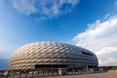MUNICH, GERMANY - SEPT 7, 2018: Allianz Arena (Fussball Arena Munchen, Schlauchboot), the home football stadium for FC Bayern Munich. Widely known for its exterior of inflated ETFE plastic panels. Editoriali