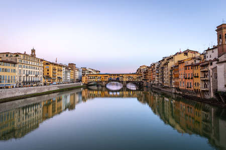 Florence, Medieval Ponte Vecchio (Old Bridge) and the River Arno, Tuscany Italy, Europe.