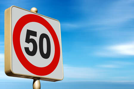 Closeup of a modern Road Sign Speed Limit 50 Kmh (kilometers per hour), on blue sky with clouds and copy space.