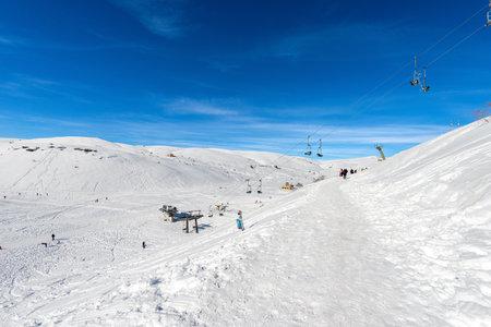 Malga San Giorgio Ski Resort in winter with snow. Lessinia Plateau (Lessinia Plateau), Regional Natural Park, Bosco Chiesanuova Municipality, Verona province, Veneto, Italy, Europe.