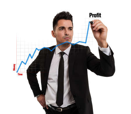 Businessman creating a financial chart Reklamní fotografie - 20018431